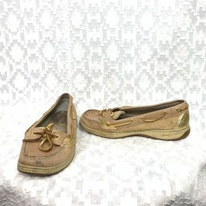 Sperry Top Sider Gold Metallic Boat Shoes Pull on